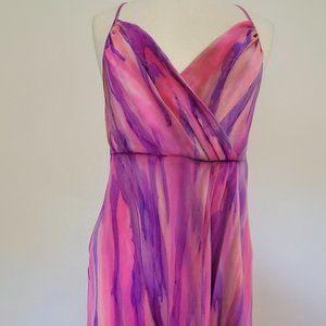 long Maxi dress Silk Blue Pink Purple 10 12 14 XL